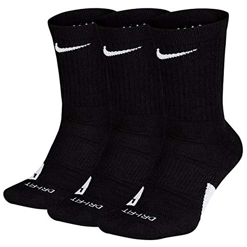 Nike Elite Basketball Crew Socks 3 Pack (Black/White, Large)