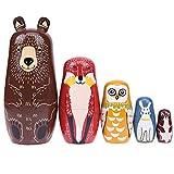 Animal Nesting Dolls, 5pcs Handmade Wooden Nesting Dolls, Bear Ears Russian Matryoshka Doll, Cute Cartoon Pattern Nesting Doll Gift for Kids