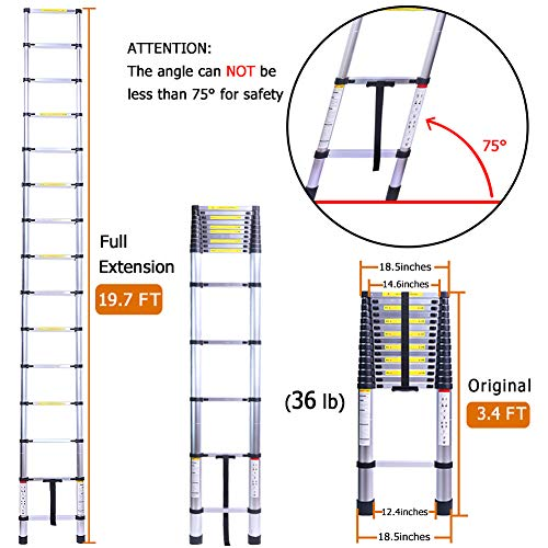 19.7FT Superhigh Collapsible Telescoping Ladder, Aluminum Telescoping Ladders, Lightweight Collapsible Ladder Extension for RV, Loft, Home, Attic, 330LB Capacity