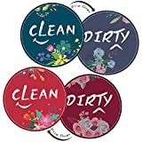 GBYMIUY Dirty Clean Dishwasher Magnet Sign, 2 Pcs 3.5inches Round Cute Flower Design Double Sided Reversible Indicator for Women, Dishwasher Accessories, Kitchen Appliance Label for Home Organization