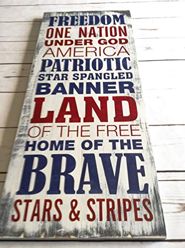 Patriotic Wall Decor, 10'x24', Rustic Patriotic Wall Decor, Independence Day Sign, 4th of July Wood...