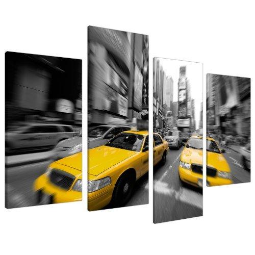 Wallfillers Cuadros en Lienzo Grande Blanco y Negro Taxi Amarillo de Nueva York Lienzos 130cm 4028
