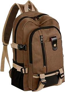 meilian Mochila de lona para hombre, mochila de deporte, mochila de senderismo para mujer, de moda, simple, doble hombro, lona, mochila escolar