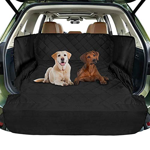 FunniPets Cargo Liner for SUV, Waterproof Dog Cargo Cover with Side Walls Protector and Bumper Flap, Non-Slip Backing, Quilted Pet Seat Cover, Large Size Universal Fit, Black