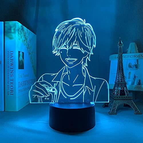3D Ilusión mesita de noche LampAnime naranja manga7 colores cambio automático luz acrílico habitación niños bebé dormitorio decoración del hogar juguetes cabecera 16 color control remoto