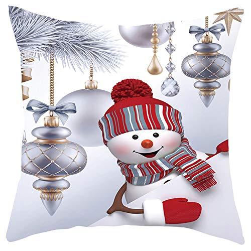 3D Snowman Christmas Sofa Pillow Case Cushion Cover Decorative Car Covers-H-450Mm*450Mm