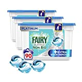 Fairy Non-Bio Platinum Pods, Washing Liquid Laundry Detergent Tablets/Capsules, 90 Washes (30 x 3) with Extra Stain Removal