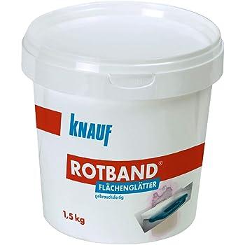 Knauf Rotband Flächen-Glätter zum Füllen und Ausbessern im Innen-Bereich – 1,5kg. gebrauchsfertige Gipsspachtel-Masse für ebene und glatte Wände und Decken, Produkteigenschaften gemäß DIN EN 13963