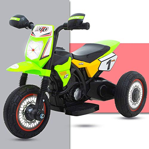 GoodLuck Baybee Battery Operated Bike for Kids Motorcycle Rechargeable Battery Operated Ride on Bike Toys 1.5 to 3 Years Kids for Boys and Girls -Green