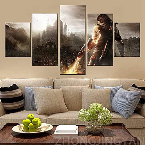 5 piezas HD Fantasy Art Picture Prince of Persia The Forgotten Sands Póster de videojuegos Pinturas en lienzo para la decoración de la pared del hogar-150 * 80 cm-Enmarcado