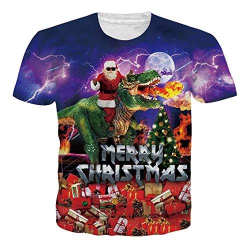 RAISEVERN Camiseta de Navidad Hombres, Mujeres, Estampado 3D, Lindo Dinosaurio, Paseo, Santa Claus, Manga Corta,...