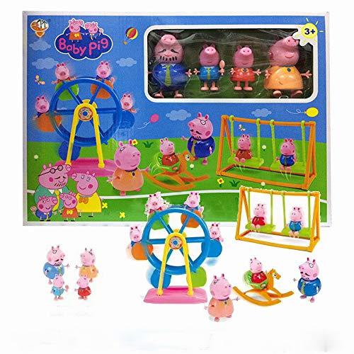 Rzf Juego de Parque de diversiones para niños, Cuatro muñecas y la Rueda de la Fortuna de Troya pivotar Mejores Regalos del Caballo y de la Muchacha