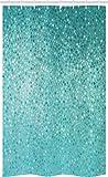 ABAKUHAUS Türkis Schmaler Duschvorhang, Vintage Tupfenmosaik Optik, Badezimmer Deko Set aus Stoff mit Haken, 120 x 180 cm, Türkis Seafoam Teal