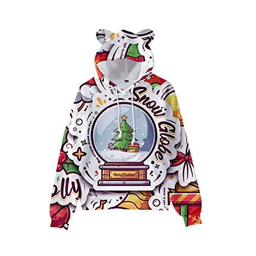 Weihnachtspullover Damen Lustig Ugly Lang Baumwolle Rot Rentier Hoodie Sweatshirt...
