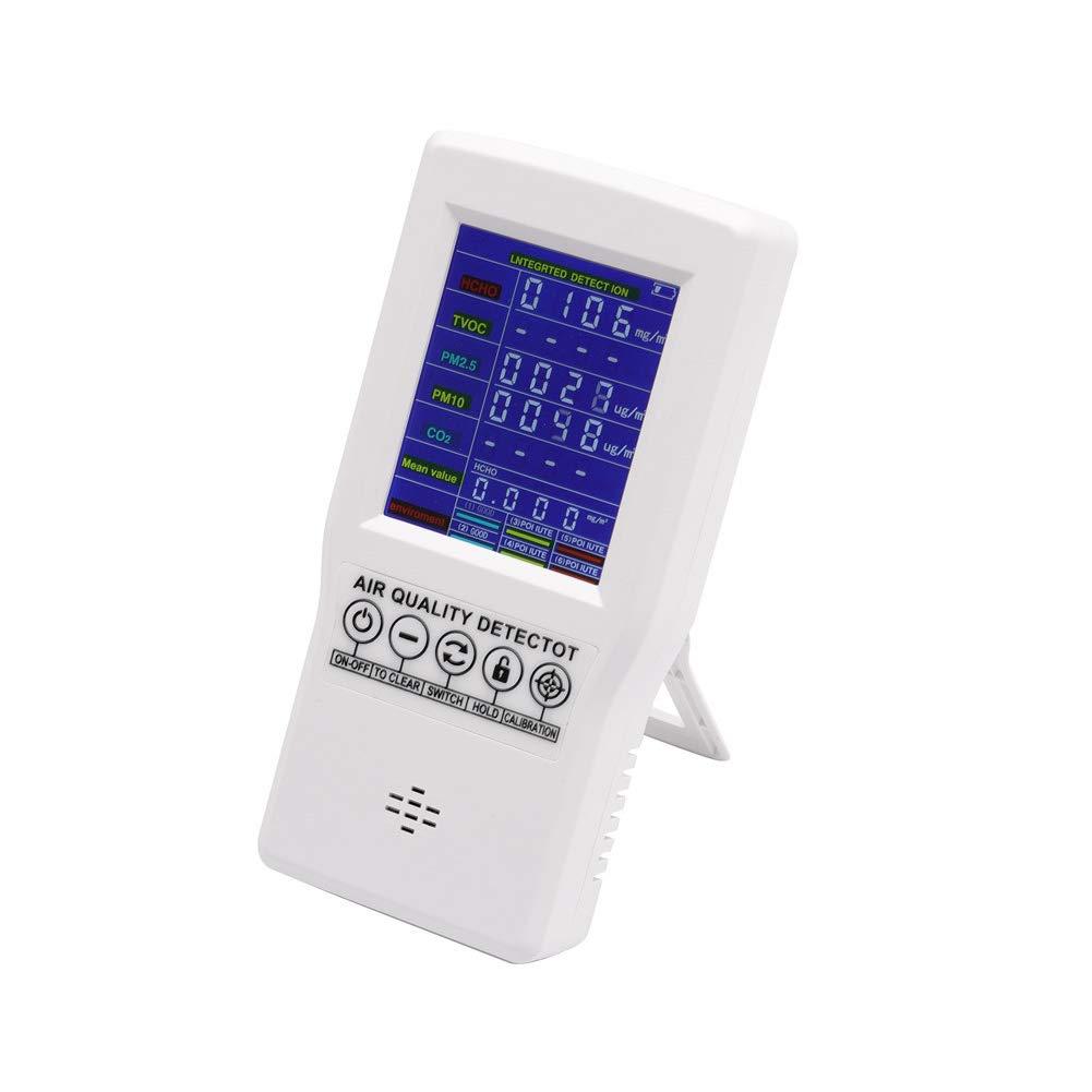Co2 - Medidor de calidad de aire para habitación (pantalla LCD, multifuncional, HCHO TVOC PM2.5 PM10)