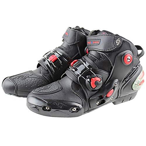 JYY Botas de Moto Impermeables de Cuero Off Road Adventure Touring Zapatos de Moto Tobillo Corto Casual Racing Sports Touring Cruise Zapatos,Black-EU43
