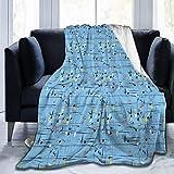 Manta de forro polar ultrasuave para adultos, manta de forro polar, banda francesa con trompeta de jazz, saxofón y latón, manta suave y cómoda para sofá de 152 x 127 cm