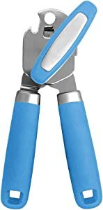Gorilla Grip Manual Can Opener, Handheld Comfortable Grip, Oversized Easy Turn Knob, Built in Bottle Opener, Hangs for Convenient Kitchen Storage, Blades Easily Open Tin Cans for Smooth Edge, Aqua