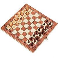 WCD チェスセット3-in-1折りたたみ式トラベルチェス&チェッカー&バックギャモン折りたたみ式チェスボード教育用おもちゃ持ち運びに便利な子供と大人のための最高のギフト(色:マルチカラー、サイズ:XL)