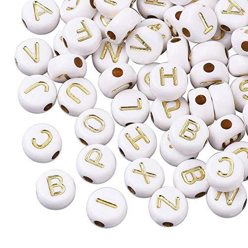 Cheriswelry 200 cuentas acrílicas de oro blanco del alfabeto de 7 mm de disco redondo plano de moneda A-Z, cuentas espaciadoras para joyería y pulseras