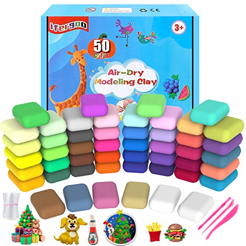 iFergoo Air Dry Clay, 50 Colours Modelling Clay for Kids, Safe and No-Toxic Modeling Clay & Dough, Soft & Stretchable DIY Magic Clay with Tools, Children Boys Girls Toys