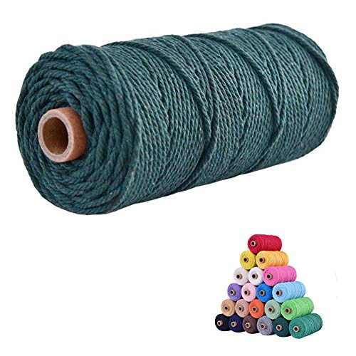 flipped 100% Natural Macrame Cotton Cord,3mm x109 Yards Twine String Cord Colored Cotton Rope Craft Cord for DIY Crafts Knitting Plant Hangers Christmas Wedding Décor (Blackish Green, 3mm109yards)