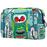 Bolsa de Maquillaje Bolsas de cosméticos de Viaje portátiles, patrón de halcón Nocturno