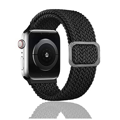Rosok Correa de Repuesto Elástica Compatible con Apple Watch SE 42mm /44mm, Moda Transpirable, Correa de Tejer de Nylon para Apple Watch Series 6/5/4/3/2/1 42mm /44mm - Negro