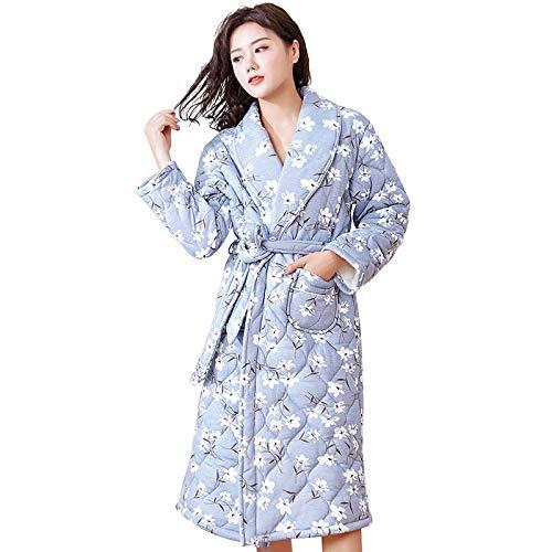ROirEMJ Damen Bademantel,Winter Kleine Blume Bademantel Langarm Frauen Pyjamas...