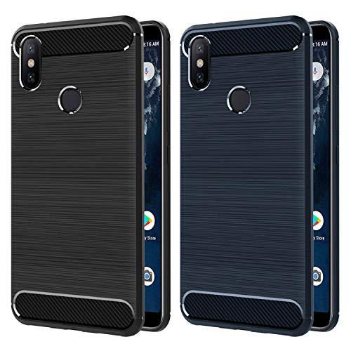 iVoler [2 Pack] Cover Compatibile con Xiaomi Mi A2, [Fibra di Carbonio] Protezione Posteriore Soft TPU Custodia Case (Nero+Blu)