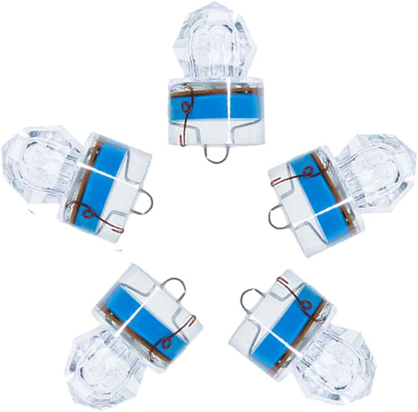 Dr.Fish 5PCs Diamond LED Fishing Lure Bait Attractant Trolling Deep Drop Light Water Trigger Deep Sea Ice Fishing Underwater Freshwater Saltwater Halibut Tuna Bass Blue : Sports & Outdoors