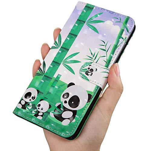 Último 3D Shinning Pintado Panda Patrón Billetera Funda de Cuero para OnePlus RedMi XiaoMi Moto para Samsung Galaxy Huawei Honor Sony para iPhone LG Nokia (Huawei P Smart 2019/honor 10 Lite)