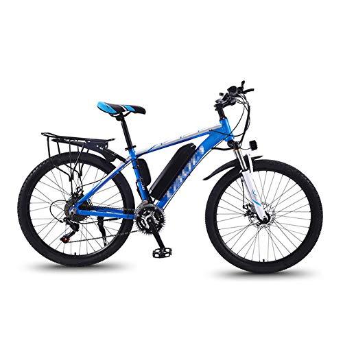 26 Zoll E-Bike, Mountainbike Elektrofahrrad für Damen und Herren mit 36V 13Ah Lithium-Ionen-Akku 350W Heckmotor 27 Gang-Schaltung Alu-Rahmen E-Citybike,Blue b,UE