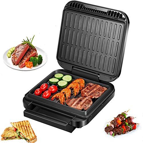 Deik Indoor Smokeless Grill 1200W Ultra Power Gril électrique avec spatule, gril antiadhésif compact et portable Panini Press avec surface antiadhésive et très grand plateau d'égouttement pour griller faible en gras, noir