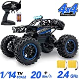 1/14 Scale RC Car, 4WD RC Truck, 4x4 Off-Road Remote Control Truck, RC Toy for Boys, 4 LED Lights 2 Motors Independent Suspension (Blue)