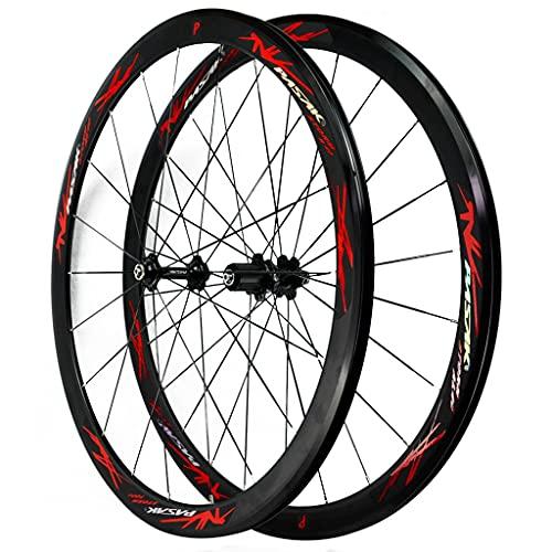LICHUXIN 700C Juego De Ruedas De Bicicleta de Carretera Ultra-Light Llanta De Aleación Aluminio De Doble Pared Liberación Rápida Freno V/C 7 8 9 10 11 12 Velocidad (Color : Red, Size : 700C)