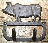 JumpingLight Cast Iron Antique Style Pig Coat Hooks Hat Hook Rack Towel HOG Piggy Cast Iron Decor for Vintage Industrial Home Accessory Decorative Gift