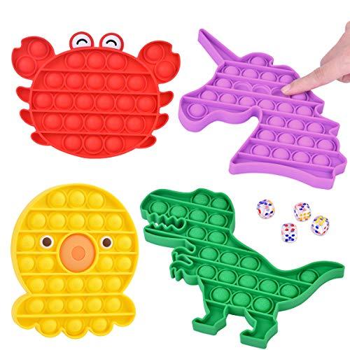Juguete Silicona Sensorial Fidget para Niños Juguete Educativo, Push Pop Bubble Sensory Fidget, Juguete Silicona de Dedo para Niños, Juguete Antiestré para Adultos, Dinosaurio Pulpo Unicornio Cangrejo