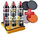 Craft-Equip Menzerna 1000 + 2500 + 3500 Politur-Set + Zubehörset aus Polierschwämmen und Poliertuch Set-MENZ1