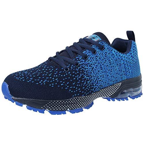 VVQI Zapatos para Correr Hombres Mujeres Zapatillas de Deporte Zapatos Deportivos Moda Ligero Zapatos Transpirables Casuales,Azul,42 EU