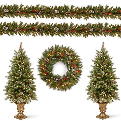 National Tree Company Pre-lit Holiday Christmas 5-Piece Set   Wreath, Set of 2 Entrance Trees and Garlands