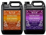 Dirtbusters - Detersivo e deodorante concentrati da 5 litri 1 al profumo di arancia e 1 freschezza primaverile, per la pulizia professionale di moquette con neutralizzazione