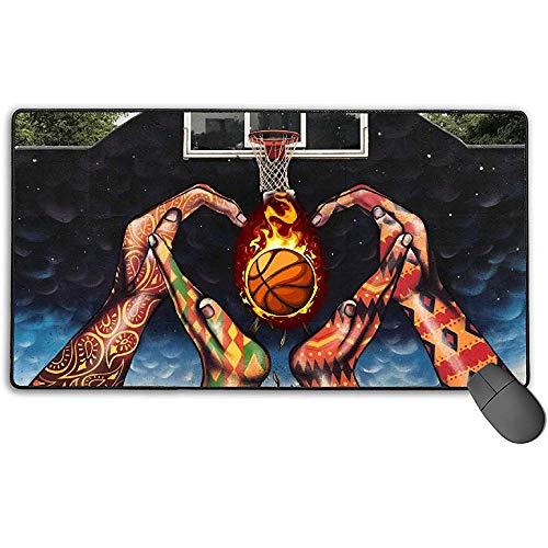 Großes Mauspad, Basketball-Design Erweitertes Gaming-Mauspad Matte Schreibtischunterlage Rutschfestes Gummi-Mousepad 40x75 cm