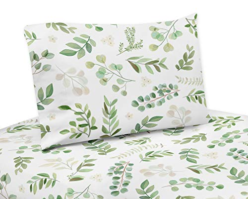 Sweet Jojo Designs Floral Leaf Queen Sheet Set - 4 Piece Set - Green and White Boho Watercolor Botanical Woodland Tropical Garden
