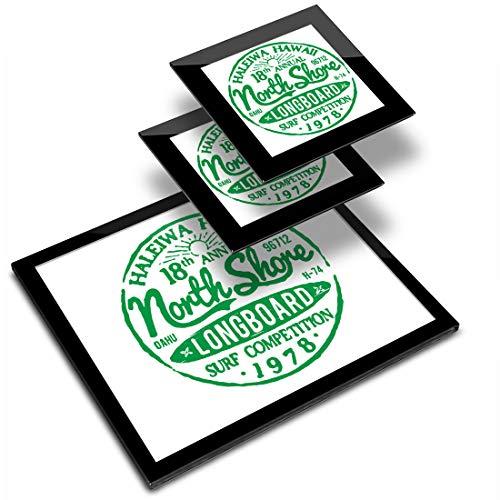 Destination Vinyl ltd Glass Placemat 20x25 cm & 2x Coaster 10x10 cm - Hawaii North Shore Longboard Surf Workplace/Table Mat/Dining Mats/Wipeable/Waterproof #5486