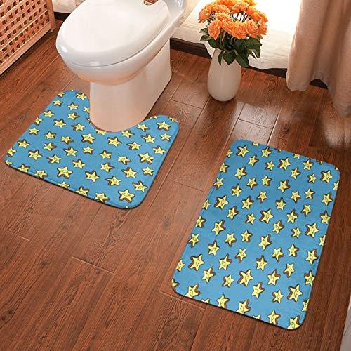 Juego de 2 alfombrillas de baño con diseño de estrellas sonrientes, color azul