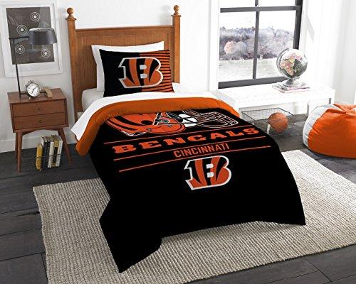 Northwest NFL Cincinnati Bengals Unisex Draft Twin Comforter and Sham Set, Black, Twin