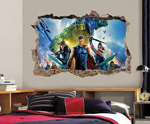 Wandtattoo Thor Ragnarok Super Filmheld 3D Smashed Wandaufkleber Aufkleber Dekor Kunst Wandbild