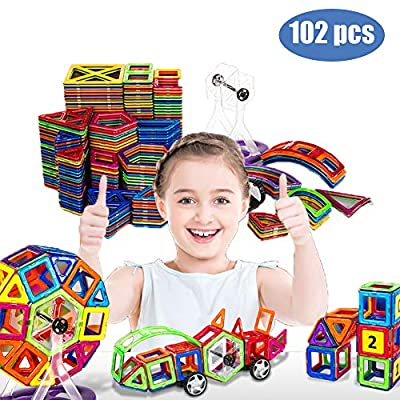 GeZo 102 pcs Set/3D Magnetic Building Blocks,Tiles Strong Magnetic/Safe Toy for Kids/Pre-School Educational ABS-Toys for Kids/Creative Construction/Big Size of Shapes/Great Gift for Kids 3-8 Years