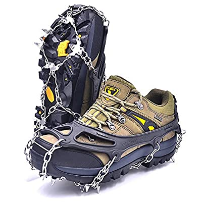 Leanking Ice Snow Grips, Traction Cleats Ice Cleats with 18 Spikes for Walking, Jogging, Climbing and Hiking on Snow, Ice, Mud, Sand and Wet Grass (Black, L)